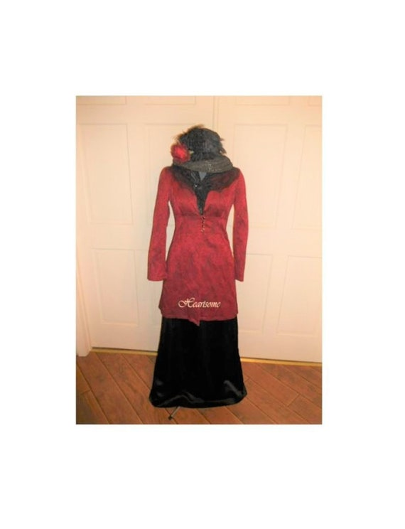 Dress Victorian Edwardian wine jacket costume skir