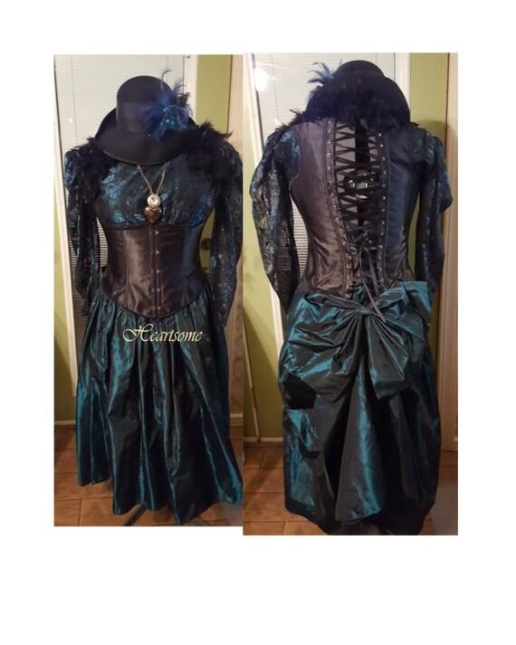 Victorian Masquerade steam punk gown dress ensemble plus size xx lrg teal  black corset saloon