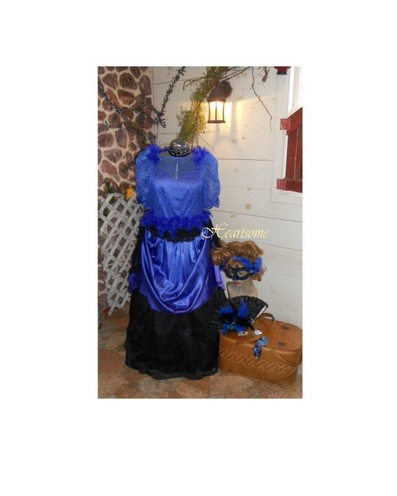 Victorian civil war gown dress 7 pc ensemble xx plus size Masquerade mask  carnival blue feathers