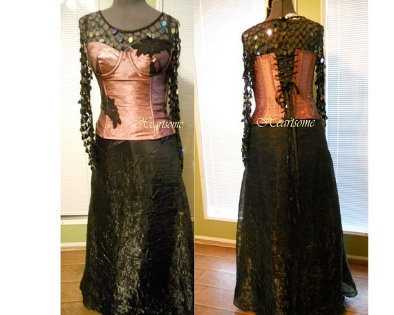 Victorian Gothic steampunk Formal gown skirt corse