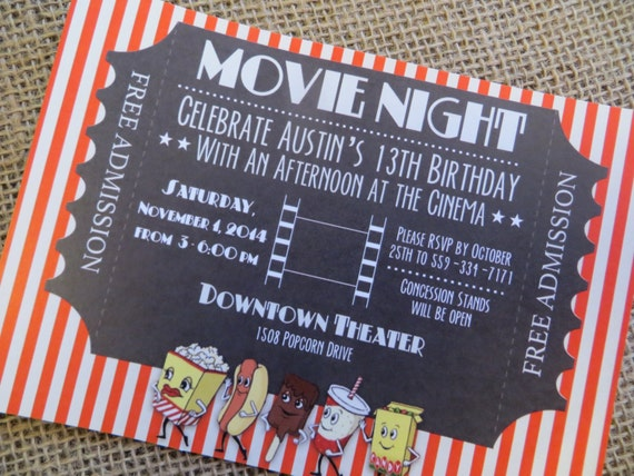 Digital Movie Theater Invitation movie theatre birthday party