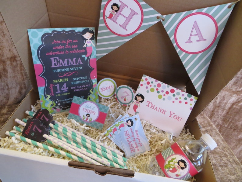 Digital Mermaid Birthday Party Pack Customize Your Mermaid Etsy