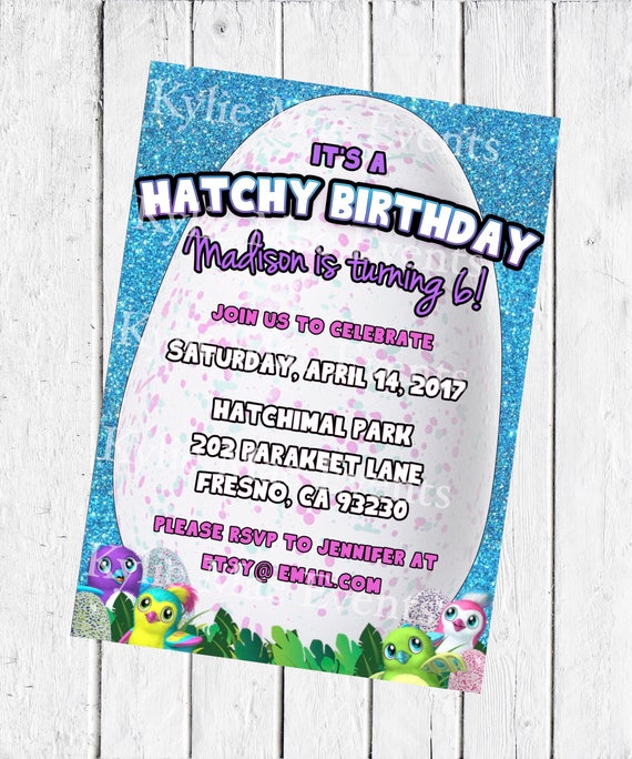 Digital Hatchimal Birthday Party Invitation Hatchimals Supplies