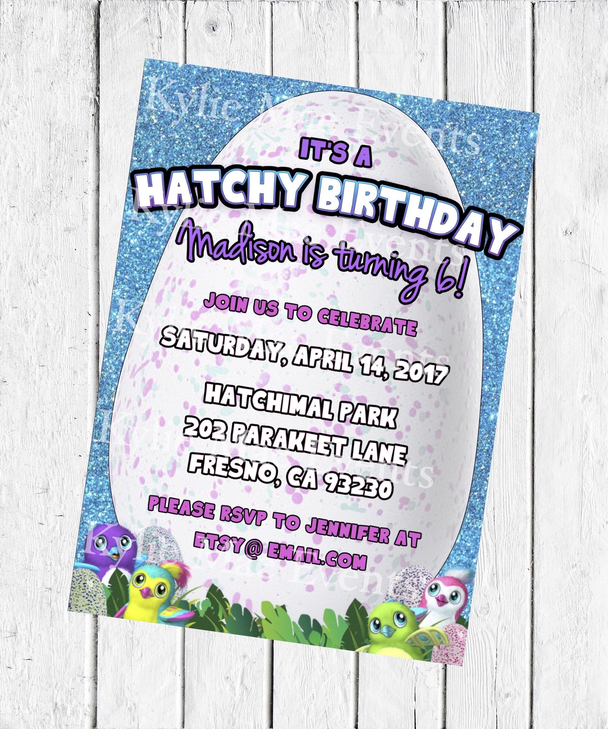 Digital Hatchimal Birthday Party Invitation Hatchimals