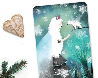 Snow Queen and Fairy Bear - Illustrated Postcard
