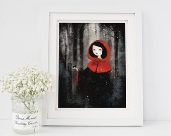 Little Red and the Wolf 91/100 - Deluxe Edition Print - Whimsical Art