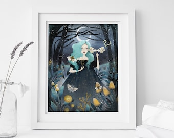 Midnight Witch - Deluxe Edition Print - Whimsical Art
