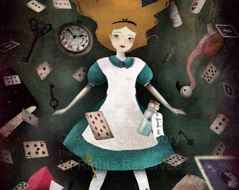 Down the Rabbit Hole (Alice in Wonderland)  - choose the style - Deluxe Edition Print - Whimsical Art