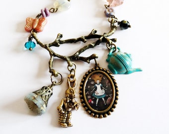 Alice in Wonderland - Down the Rabbit Hole - Original handmade necklace - brass jewelry