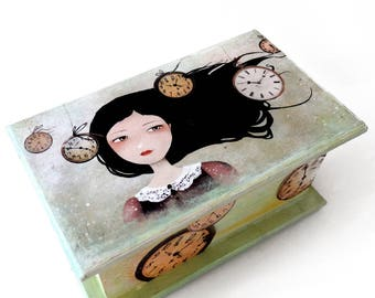 Time Flies - Handmade Mixed Media Jewelry Box - OOAK - Dragonfly - Green - Wooden Gift Box