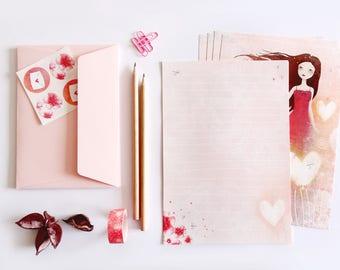 Letter Writing Set - Illustrated paper letter set with envelopes - Heart Lanterns - Pink