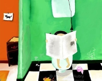 On the Toilets - open edition print - Whimsical Art