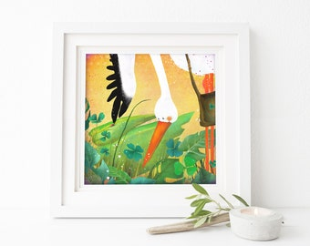 Stork and Ladybug - Deluxe Edition Print - Whimsical Art