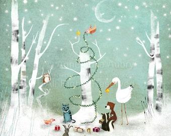 An Enchanted Christmas - open edition print - Whimsical Art