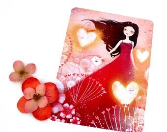 Heart Lanterns - Illustrated Postcard