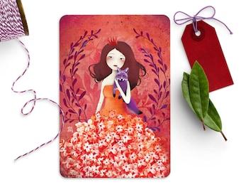 Purple Fox - Illustrated Postcard