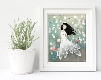 Blue Field Memories 95/100 - Deluxe Edition Print - Whimsical Art