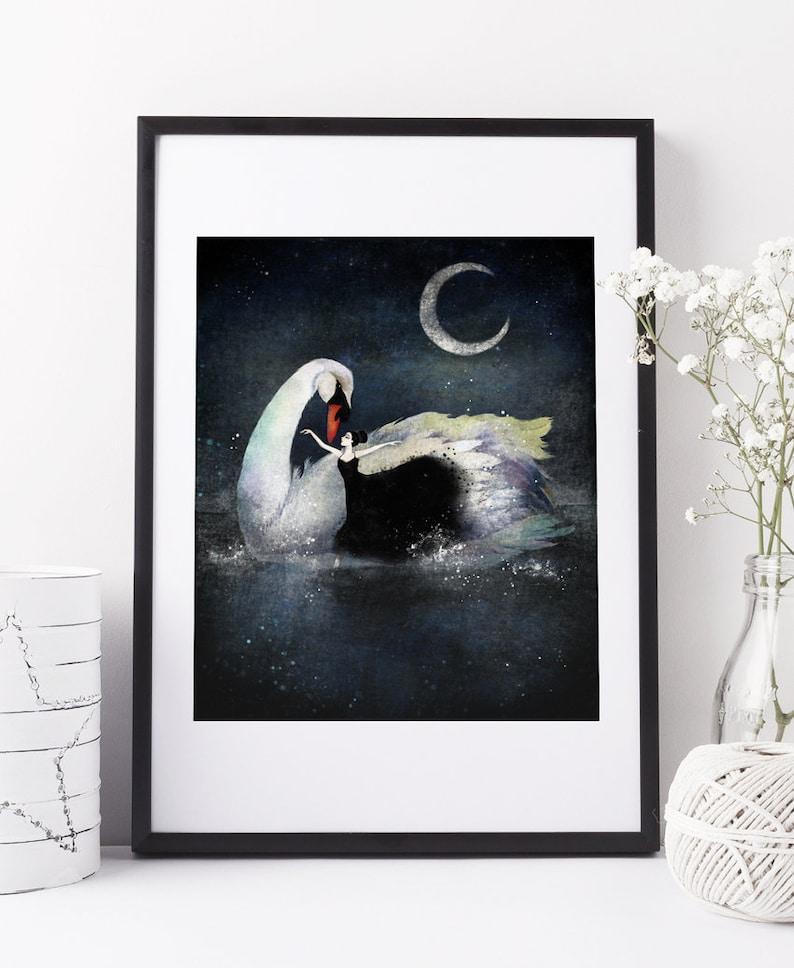 Swan Lake  Deluxe Edition Print  Whimsical Art image 0