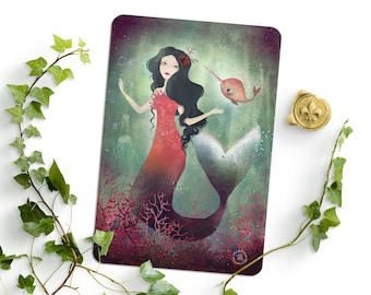 Mermaid and Narwhal - Siren -  Illustrated Postcard