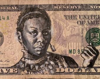 Nina Simone Liza Jane Mississippi God Damn Feel hood four women sinnerman American currency I got 5 on it dollar money bill painting Pop art