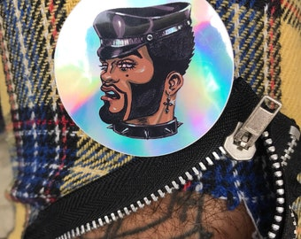 holographic leather daddy sticker, dream daddy, brown gay, queen, papi, hard femme, soft butch, folsom street fair, up your alley, dore, wuf