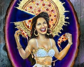 Selena, Selena Pizzaniña, Saint Selena, Pizza Halo, byzantine, mexican, texan, za, tejas, purple & gold, I can eat a whole medium pizza,