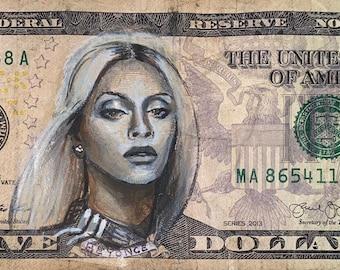 I got 5 on it dollar bill money painting Pop art print, Beyoncé Carter Queen Bey Lambo Ivy Park Destiny's Child Black Excellence Apeshit