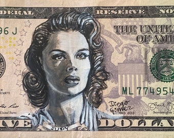 judy garland  frances gumm wizard of oz meet me in st louis dorothy rainbow currency I got 5 on it dollar money bill painting Pop art