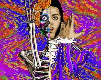 prince poster, print, postcard, lets go crazy dearly beloved, greatful dead, dia de los muertos, purple rain, party like its 1999 afterworld