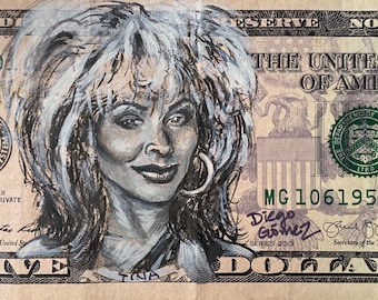 Tina Turner What's Love Got to do with it Private Dancer I got 5 on it dollar money bill painting Pop art