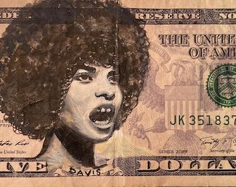 Angela Davis American currency I got 5 on it dollar money bill painting Pop art