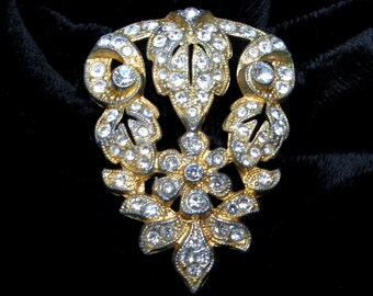 Rhinestone Shoe Clip Vintage Dress Clip French Paste Clip Art DECO Shoe Clip Gold Dress Clip Goldtone Pin 1930s Clip Restored Vintage Gift