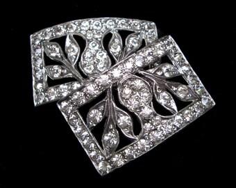 Rhinestone Shoe Clip Pair Art DECO BUCKLES Shoe Clips Wedding Vintage Shoe Buckles Jewelry 1930s Shoe CLIP Antique Buckle Dress Buckle Slide