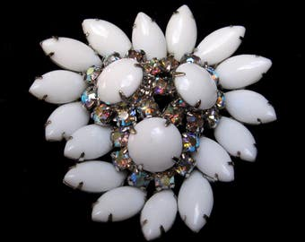 Vintage BROOCH Juliana White Brooch Juliana Rhinestone Pin Wedding Brooch Milk Glass AB Large Cluster Aurora Borealis Madmen Jewelry 1960s