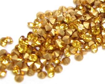 PRECIOSA Crystal RHINESTONES Machine-Cut Chatons CZECH 12pp 6ss Round Topaz Optima Point Back Jewelry Loose Stones Parts A1100 36pc