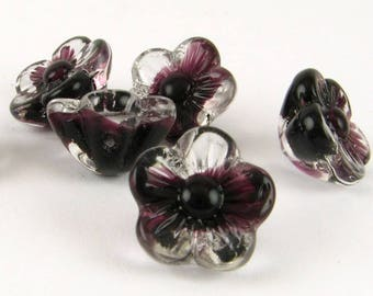 Flower Beads Glass Flowers Givre Glass Beads Flower Charms Striped Beads Molded Flower Beads Loose BEADS Jewelry Supplies Vintage Beads 8pcs