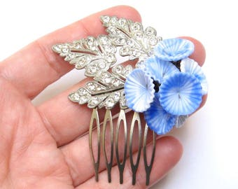 Something Old HAIR Jewelry Hair Comb New Blue Hair Pin Clip Hair Flowers Rhinestone Leaves Bluebells One of a Kind Wedding Vintage Upcycled