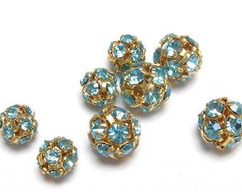 Vintage Rhinestone Bead Ball Aquamarine Aqua Rhinestone Ball Rhinestone Rondelles Crystal CONNECTORS Gold Rhinestone Findings 6mm 7mm