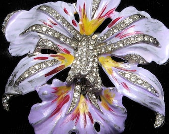 ORCHID Pin Orchid FUR CLIP Vintage Fur Clip Enamel Fur Clip Rhinestone Clip Orchid Jewelry Rhinestone Enamel Large Flower Brooch 1930s