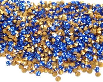 Vintage Crystal RHINESTONES Preciosa Machine-Cut Chatons CZECH 12pp 6ss Round SAPPHIRE Blue Optima Point Back Jewelry Stones A1100 36pc