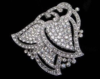 VINTAGE Dress Clip Rhinestone Shoe CLIP Leaves Dress Clip Pave Rhinestone Clip Fur Clip French Paste Jeweled Brooch Wedding Restored Gift