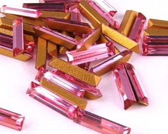 Swarovski Baguette VINTAGE Rhinestones CRYSTAL Rhinestones Machine-Cut Rose BAGUETTES 8x2mm Pink Fancy Cut Point Back Jewelry Stones 12pc