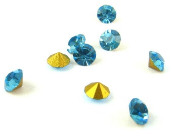 Swarovski Vintage Crystal RHINESTONES Machine-Cut Chatons Round AQUA 24pp 3mm Repair 12ss Point Back Jewelry Stones Replacement A1100 24pc