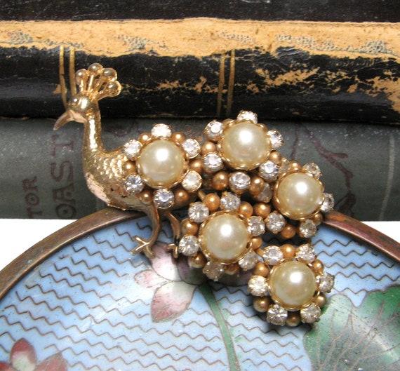 Vintage PEACOCK Brooch Pin 1940s Brooch Crystal P… - image 10