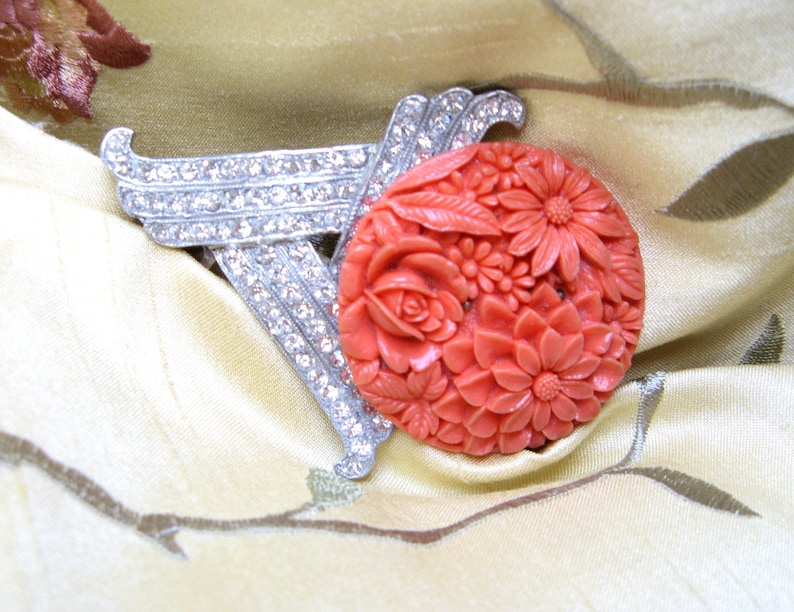 Vintage HAIR Comb HANDMADE Rhinestone CORAL Celluloid Flowers Art Deco Clip Barrette Orange Summer Old New Accessories Wedding Bridal
