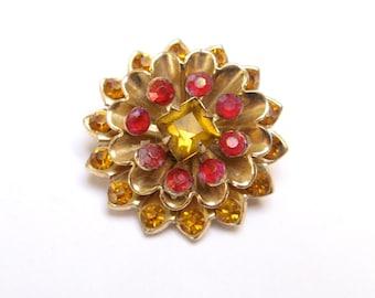 Vintage RHINESTONE Pin STARBURST Brooch CORO Signed Flower Amber Chysanthemum Old Costume Jewelry 1940s