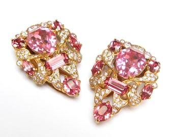 VINTAGE Dress Clip Pair Rhinestone Shoe Clip Set Eisenberg Jewelry PINK Jeweled Clip Yellow Gold Goldtone 1930s Jewelry 1940s Staret Jewelry