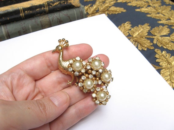 Vintage PEACOCK Brooch Pin 1940s Brooch Crystal P… - image 6