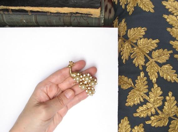 Vintage PEACOCK Brooch Pin 1940s Brooch Crystal P… - image 5