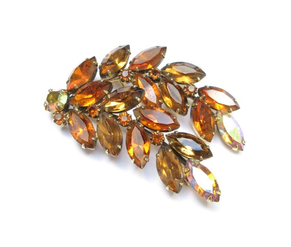Weiss Gold Tone Brown Topaz Honey Amber Fall Colors Brooch